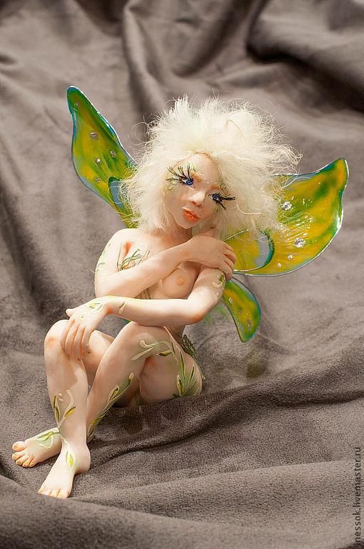 Коллекционные куклы ручной работы. Ярмарка Мастеров - ручная работа. Купить Хранительница леса. Handmade. Ярко-зелёный, фея, лама