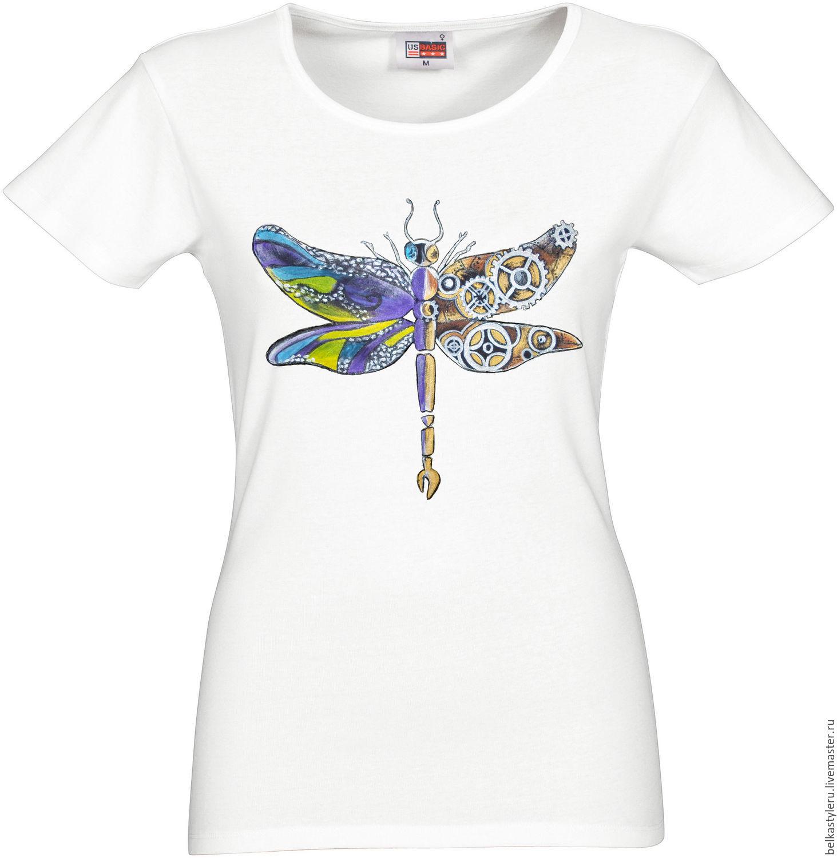T-shirt design handmade - Steampunk Handmade T Shirt Hand Painted Dragonfly Steampunk Belkastyle Handmade And Design