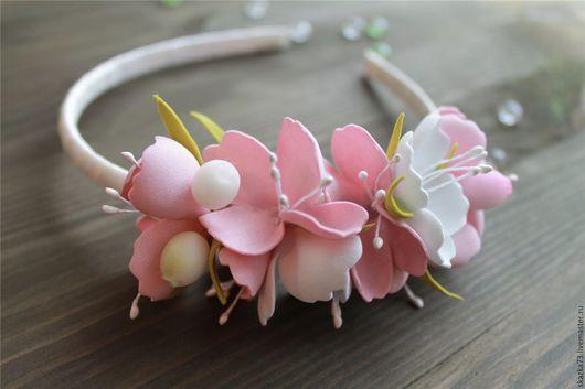 Диадемы, обручи ручной работы. Ярмарка Мастеров - ручная работа. Купить Ободок из фоамирана с цветами Розовый. Handmade. Ободок для волос