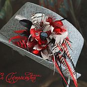 Украшения handmade. Livemaster - original item Red brooch rooster, pheasant and guinea fowl feathers. Handmade.