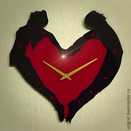 """Часы для дома ручной работы. Ярмарка Мастеров - ручная работа. Купить Часы """"Он и она"""". Handmade. Любовь, сердце, романтика"""