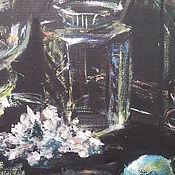 Картины и панно ручной работы. Ярмарка Мастеров - ручная работа АВТОРСКАЯ   КАРТИНА  ТЕМПЕРА  НАТЮРМОРТ  СТЕКЛЯННАЯ ГЕОМЕТРИЯ. Handmade.