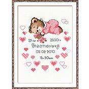 """Схемы для вышивки ручной работы. Ярмарка Мастеров - ручная работа Набор для вышивания Риолис """"Метрика для девочки"""". Handmade."""