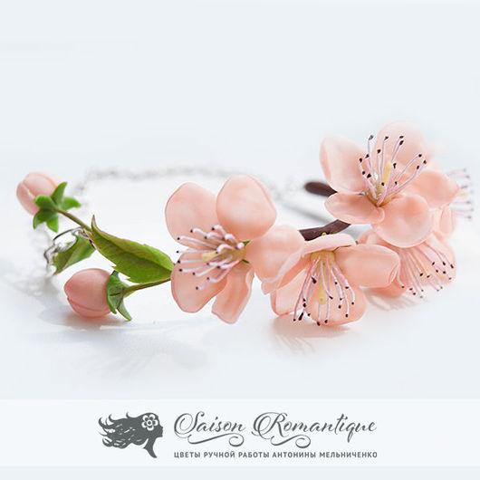 """Браслеты ручной работы. Ярмарка Мастеров - ручная работа. Купить Браслет """"Цветы персика"""". Handmade. Холодный фарфор, весна, розовый"""