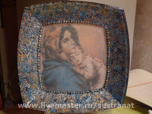 Тарелки ручной работы. Ярмарка Мастеров - ручная работа. Купить Мадонна с младенцем. Handmade. Краски марабу (marabu)