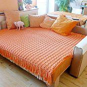 Для дома и интерьера ручной работы. Ярмарка Мастеров - ручная работа плед диванный вязанный спицами. Handmade.