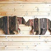 Картины и панно handmade. Livemaster - original item Bears pair of aged colored boards. Handmade.