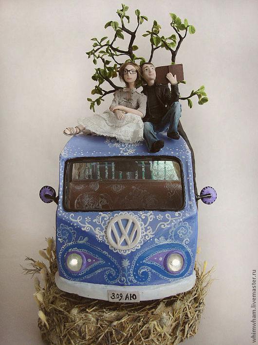 Освещение ручной работы. Ярмарка Мастеров - ручная работа. Купить Ночник Volkswagen hippie bus. Handmade. Сиреневый, орнамент, светильник