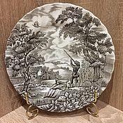 """Винтаж ручной работы. Ярмарка Мастеров - ручная работа Обеденная тарелка """"Охотник"""" от Myott, Англия. Handmade."""