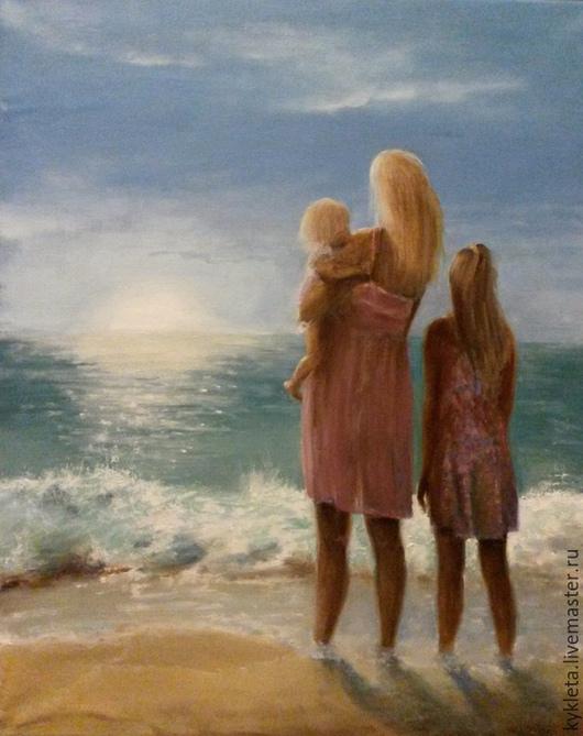 Люди, ручной работы. Ярмарка Мастеров - ручная работа. Купить Картина  маслом на холсте У моря. Handmade. Голубой, волна
