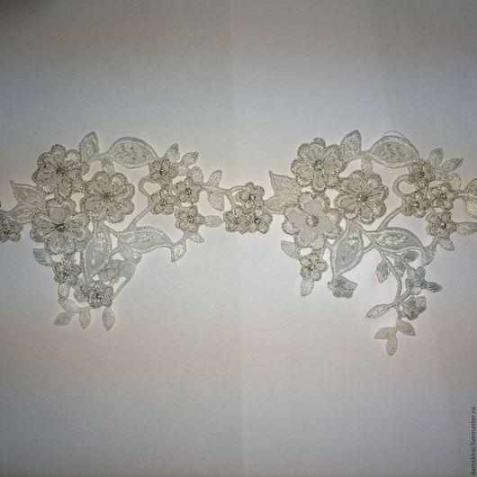 Свадебные аксессуары ручной работы. Ярмарка Мастеров - ручная работа. Купить Кружево с кордовой нитью. Handmade. Белый, кружево для отделки