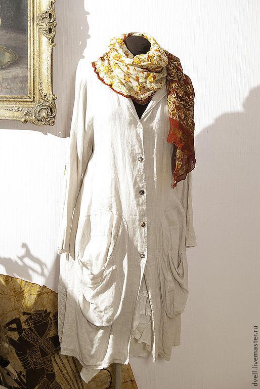 Пиджаки, жакеты ручной работы. Ярмарка Мастеров - ручная работа. Купить Лен Лето пальто для богемы. Handmade. Бежевый