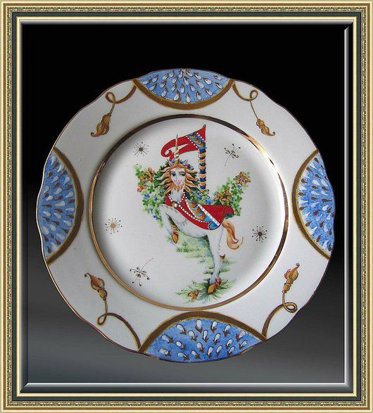 """Plates handmade. Livemaster - handmade. Buy Porcelain plate with hand painted """"Unicorn""""..Collection plate, porcelain plate"""