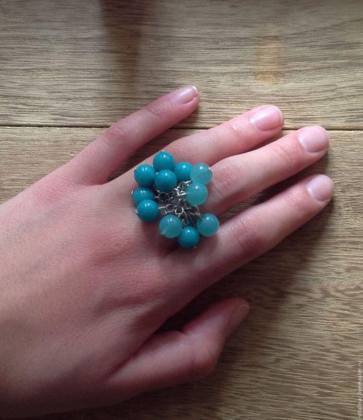 """Кольца ручной работы. Ярмарка Мастеров - ручная работа. Купить кольцо с бусинами """" BUBBLES """". Handmade. Тёмно-бирюзовый"""