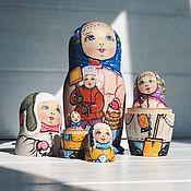 Русский стиль handmade. Livemaster - original item Author`s winter matryoshka, 18 cm 5 places. Handmade.