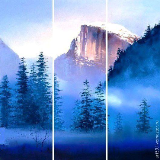 Пейзаж ручной работы. Ярмарка Мастеров - ручная работа. Купить триптих Горы. Handmade. Синий, Картины и панно, картина маслом