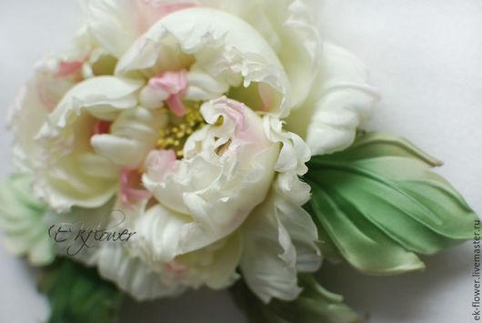 """Свадебные цветы ручной работы. Ярмарка Мастеров - ручная работа. Купить Цветы из шелка. Цветок-брошь Пион .""""Прованс"""". Handmade."""
