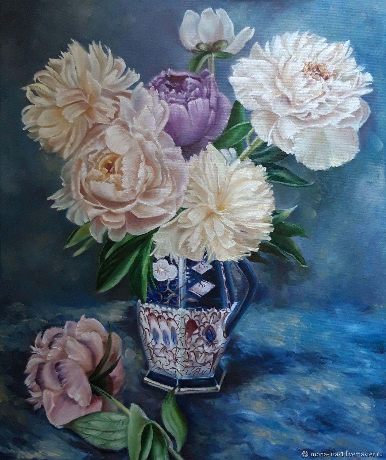 "Картина пионы"" Пионы в вазе"" картина с цветами. Масло, Картины, Анапа,  Фото №1"