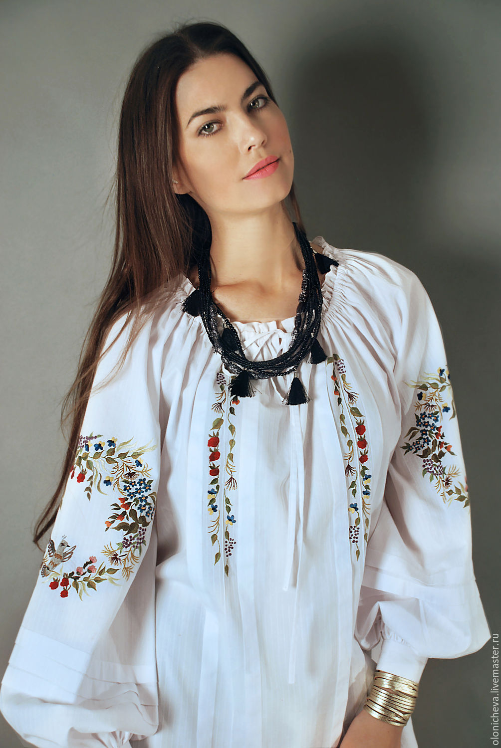 f35ff5a199e1d Online Blouses handmade. Order Embroidered white blouse  Bird land  hand  embroidery. KVITKA.