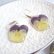 Украшения handmade. Livemaster - original item Earrings Real Flowers Pansies Viola Eco Jewelry Resin. Handmade.