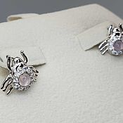 Украшения handmade. Livemaster - original item Silver earrings with mother-of-pearl 4 mm and cubic zirconia. Handmade.
