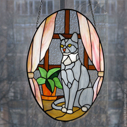 """Животные ручной работы. Ярмарка Мастеров - ручная работа. Купить Витраж подвеска """"Любимое котэ"""". Handmade. Витраж Тиффани, стекло"""