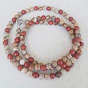 Necklace handmade. Livemaster - original item Beads Red and Landscape Jasper Silver. Handmade.