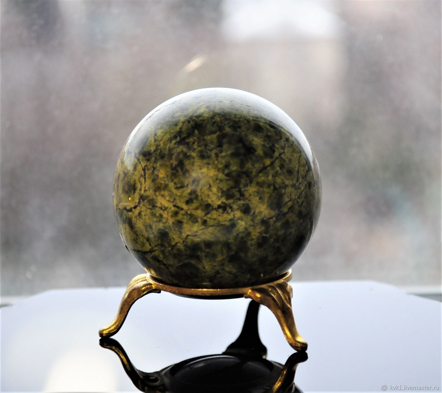Ball for massage and harmonization of serpentine (serpentinite), Stones, Moscow,  Фото №1