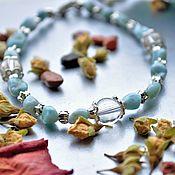 Украшения handmade. Livemaster - original item Bracelet made of larimar and rock crystal
