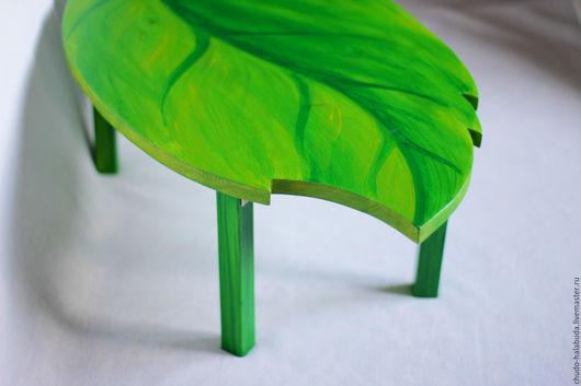 Мебель ручной работы. Ярмарка Мастеров - ручная работа. Купить Стол Листик :) дерево натуральное. Handmade. Зеленый