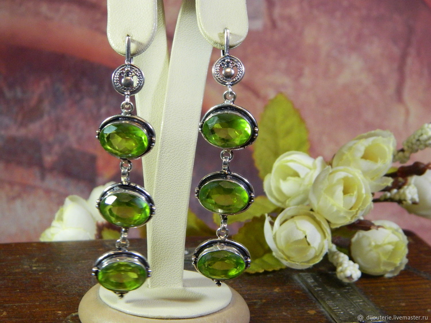 Long earrings chrysolite (peridot), Earrings, Saratov,  Фото №1
