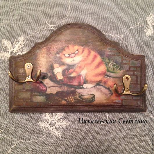Прихожая ручной работы. Ярмарка Мастеров - ручная работа. Купить вешалка-ключница Рыжий кот подарок на любой праздник. Handmade.