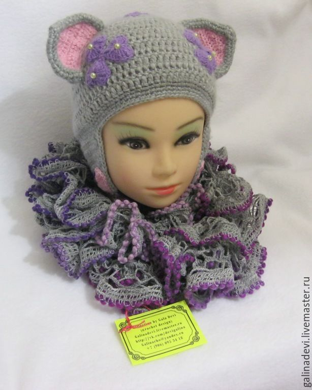 HAT-the CAT with ears for girls, knitted with a lining warm autumn-winters, Caps, Moscow,  Фото №1
