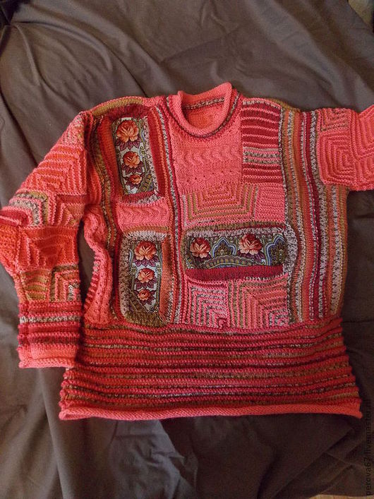 Кофты и свитера ручной работы. Ярмарка Мастеров - ручная работа. Купить Свитер женский вязаный Подмосковная зорька. Handmade. Коралловый