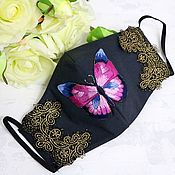 Аксессуары handmade. Livemaster - original item Protective reusable mask black with butterfly embroidery 4 layers of protection. Handmade.