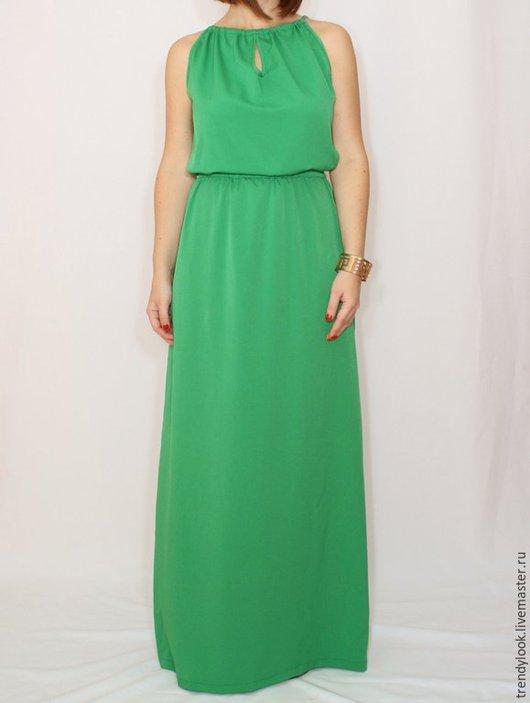 Платья ручной работы. Ярмарка Мастеров - ручная работа. Купить Ярко-зеленое платье из шифона, длинное летнее платье,. Handmade.