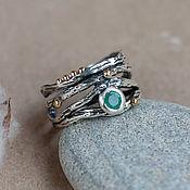 Украшения handmade. Livemaster - original item Wide silver ring sprig on the thumb with emerald. Handmade.