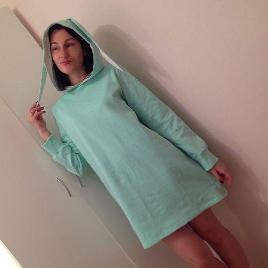 """Платья ручной работы. Ярмарка Мастеров - ручная работа. Купить Платье """"мятная зайка"""". Handmade. Худи, платье теплое"""