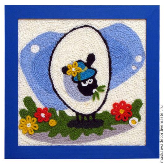Детская ручной работы. Ярмарка Мастеров - ручная работа. Купить Картина вязанная из пряжи Барашек на лужайке 30х30. Handmade. Разноцветный