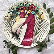 Посуда handmade. Livemaster - original item Plate decorative Pink flamingos.Hand-painted.. Handmade.