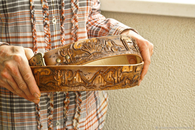 Men's leather belt 'Prairie' brown, Straps, Krasnodar,  Фото №1