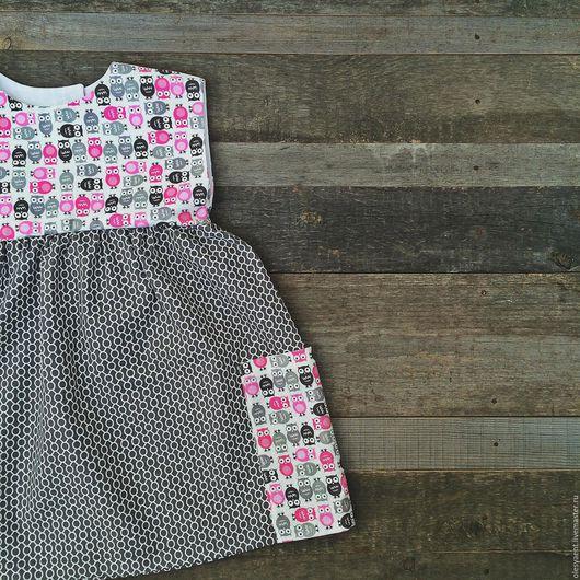 """Одежда для девочек, ручной работы. Ярмарка Мастеров - ручная работа. Купить Платье """"Совы"""". Handmade. Серый, детское платье"""