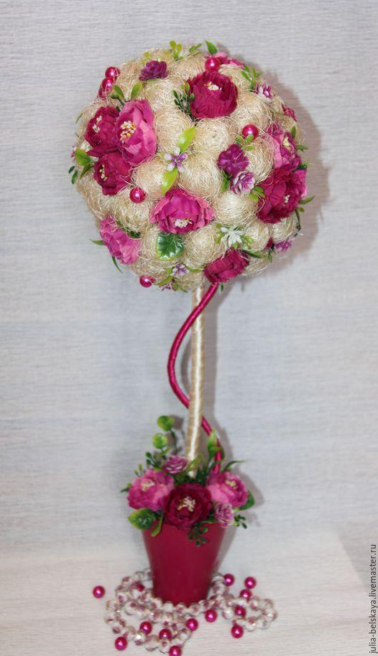 Топиарий ` Розовая жемчужина` из сизаля и иск цветов в керамическом горшочке. Высота 43 см. Ручная работа. Юлия Бельская