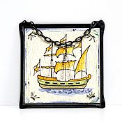Винтаж handmade. Livemaster - original item Vintage wall panel Sailboat. Handmade.