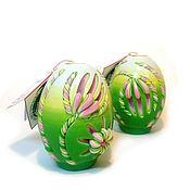 Подарки к праздникам ручной работы. Ярмарка Мастеров - ручная работа Пасхальная резная свеча Пасхальное яйцо (Тюльпан). Handmade.
