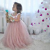Работы для детей, ручной работы. Ярмарка Мастеров - ручная работа Фатиновое пышное платье с вязаным топом. Handmade.