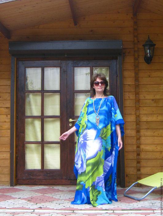 Пляжные платья ручной работы. Ярмарка Мастеров - ручная работа. Купить Длинное пляжное платье голубое. Handmade. Голубой