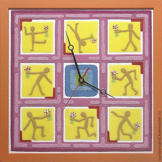 """Часы для дома ручной работы. Ярмарка Мастеров - ручная работа. Купить """"БУКЕТЫ ДЛЯ ЛЮБИМОЙ"""" из песка часы авторские. Handmade."""