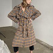Одежда handmade. Livemaster - original item Trench coat in beige check Basic Line. Handmade.