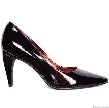 Обувь ручной работы. Ярмарка Мастеров - ручная работа Туфли-лодочки из лаковой кожи темно-вишневого цвета. Handmade.